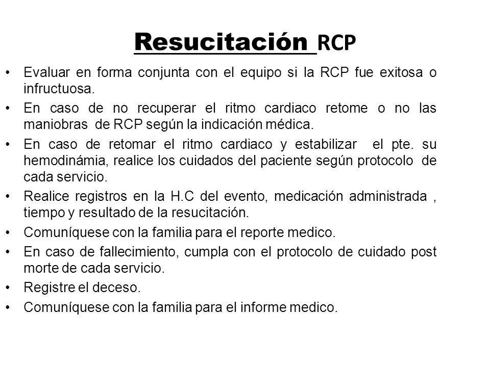 Resucitación RCP Evaluar en forma conjunta con el equipo si la RCP fue exitosa o infructuosa. En caso de no recuperar el ritmo cardiaco retome o no la