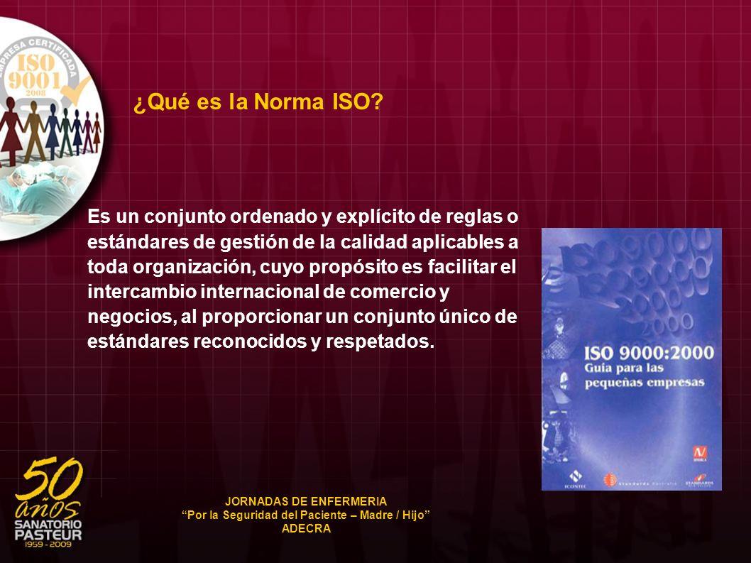 ¿Qué es la Norma ISO? Es un conjunto ordenado y explícito de reglas o estándares de gestión de la calidad aplicables a toda organización, cuyo propósi