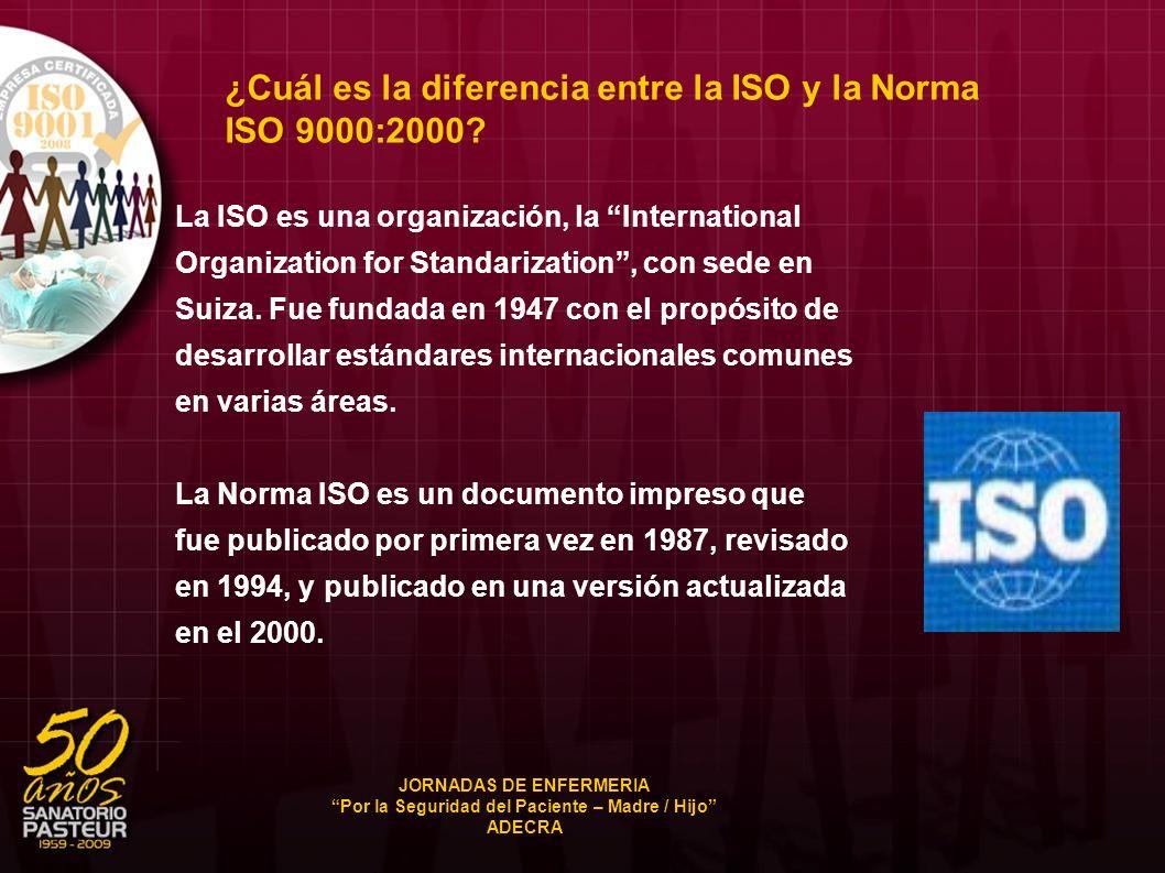 ¿Cuál es la diferencia entre la ISO y la Norma ISO 9000:2000? La ISO es una organización, la International Organization for Standarization, con sede e