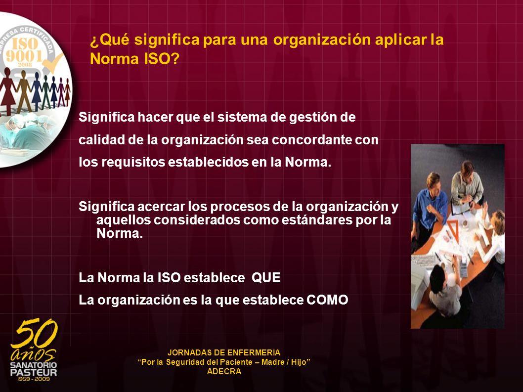 ¿Qué significa para una organización aplicar la Norma ISO? Significa hacer que el sistema de gestión de calidad de la organización sea concordante con