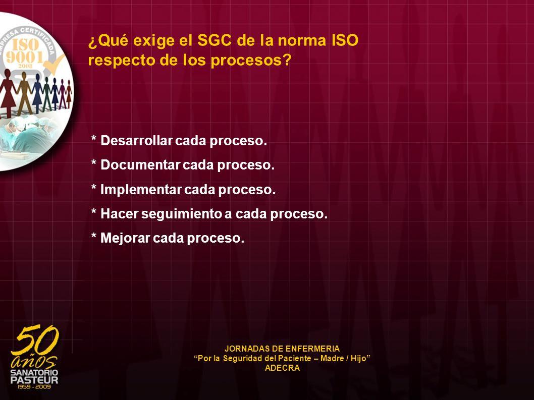 ¿Qué exige el SGC de la norma ISO respecto de los procesos? * Desarrollar cada proceso. * Documentar cada proceso. * Implementar cada proceso. * Hacer