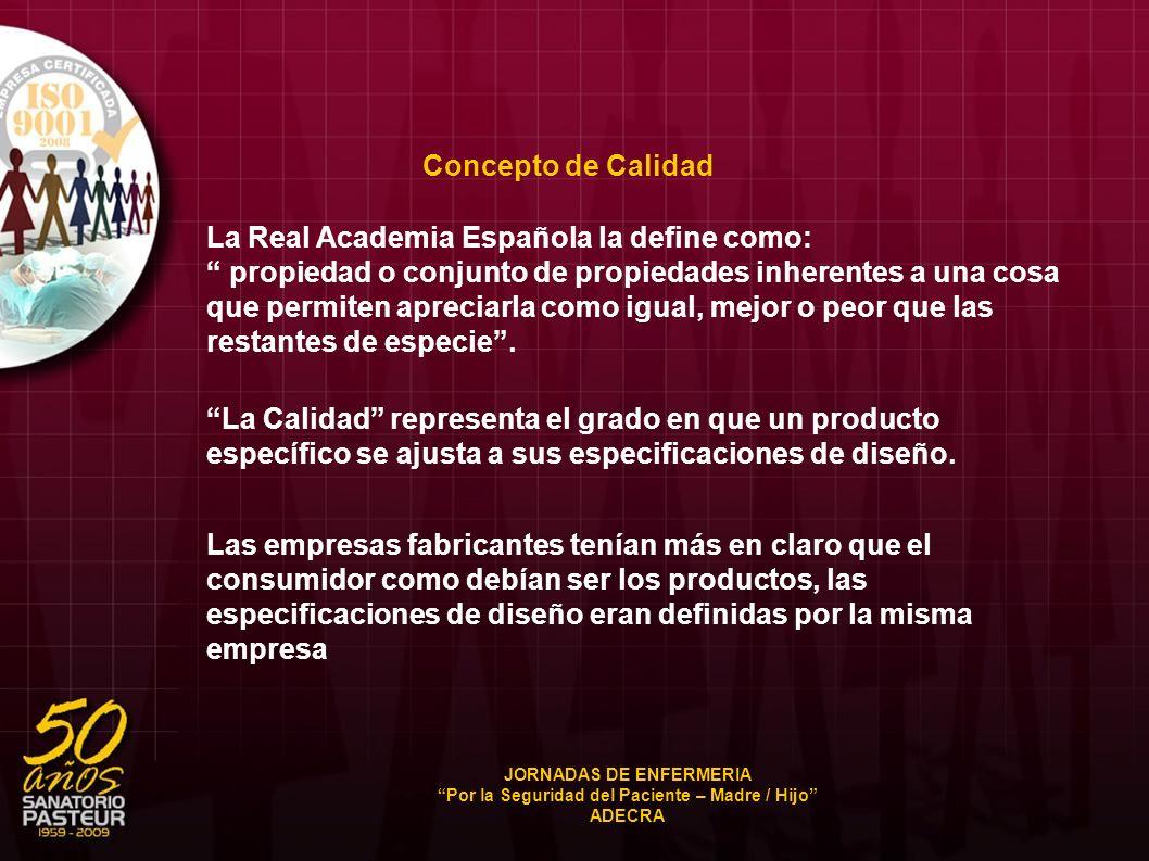 Concepto de Calidad La Real Academia Española la define como: propiedad o conjunto de propiedades inherentes a una cosa que permiten apreciarla como i