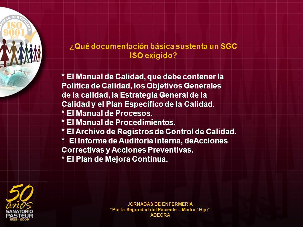 ¿Qué documentación básica sustenta un SGC ISO exigido? * El Manual de Calidad, que debe contener la Política de Calidad, los Objetivos Generales de la