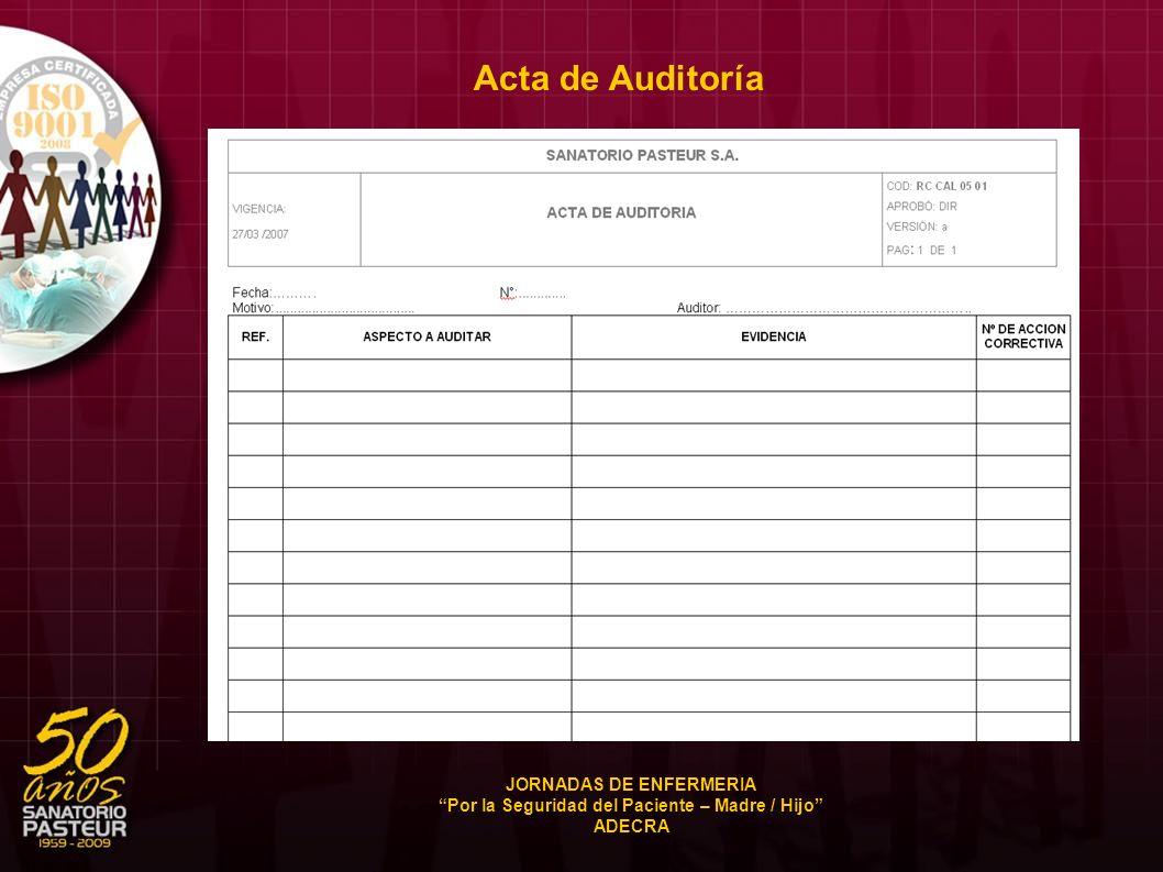 Acta de Auditoría JORNADAS DE ENFERMERIA Por la Seguridad del Paciente – Madre / Hijo ADECRA