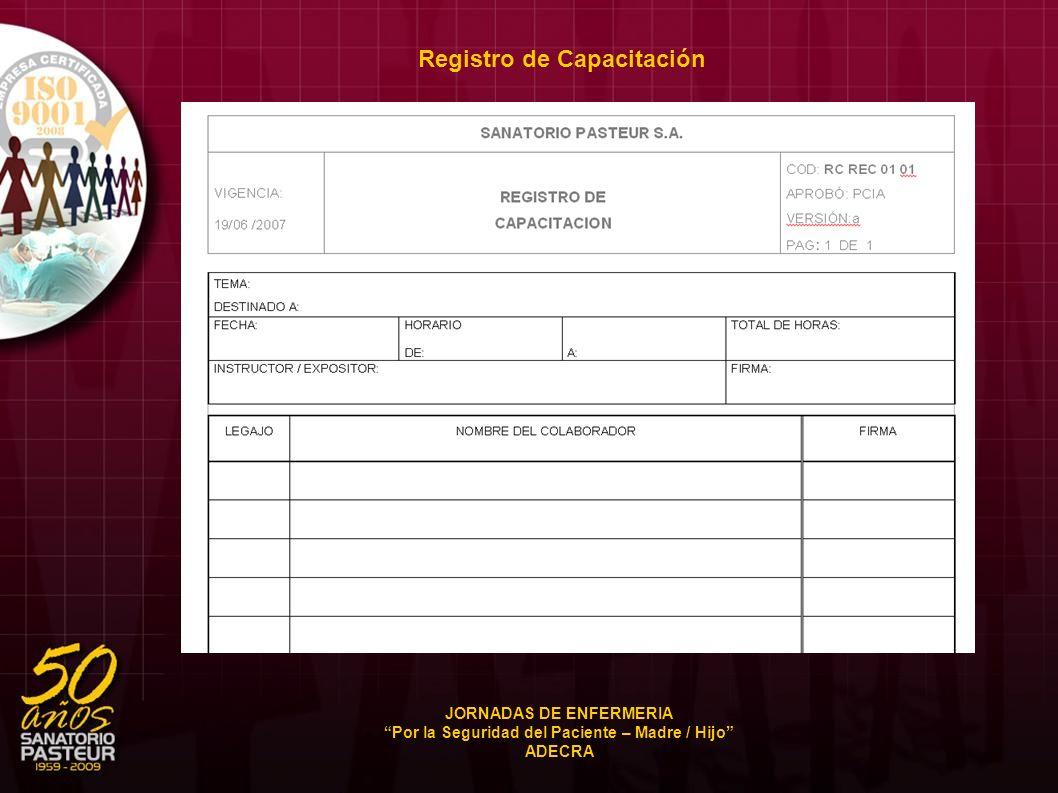 Registro de Capacitación JORNADAS DE ENFERMERIA Por la Seguridad del Paciente – Madre / Hijo ADECRA