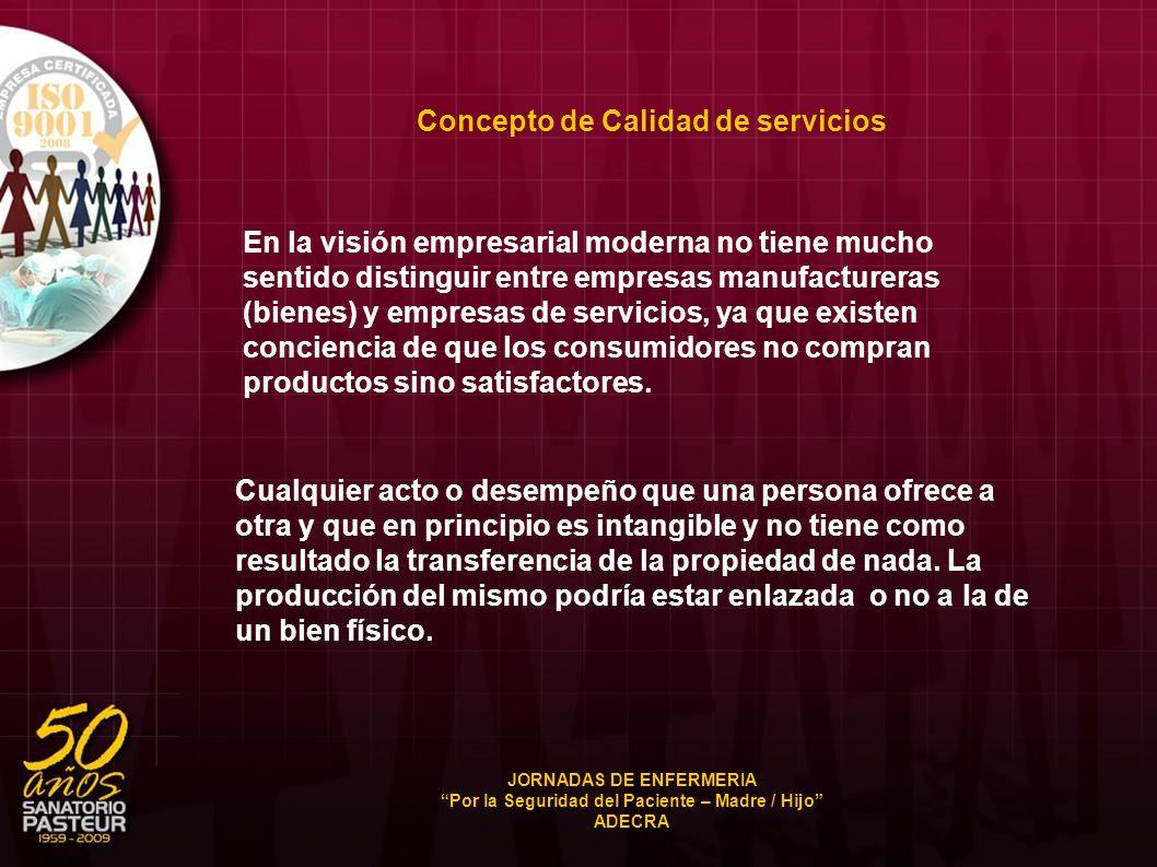 Concepto de Calidad de servicios En la visión empresarial moderna no tiene mucho sentido distinguir entre empresas manufactureras (bienes) y empresas
