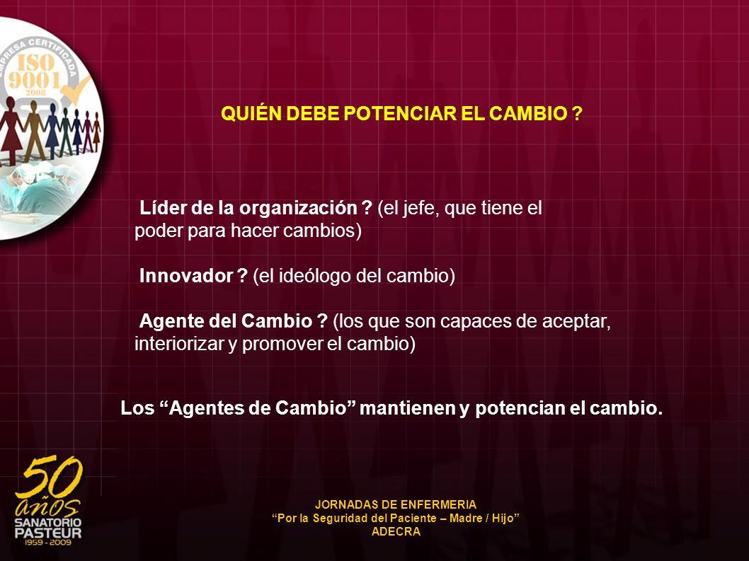 QUIÉN DEBE POTENCIAR EL CAMBIO ? Líder de la organización ? (el jefe, que tiene el poder para hacer cambios) Innovador ? (el ideólogo del cambio) Agen