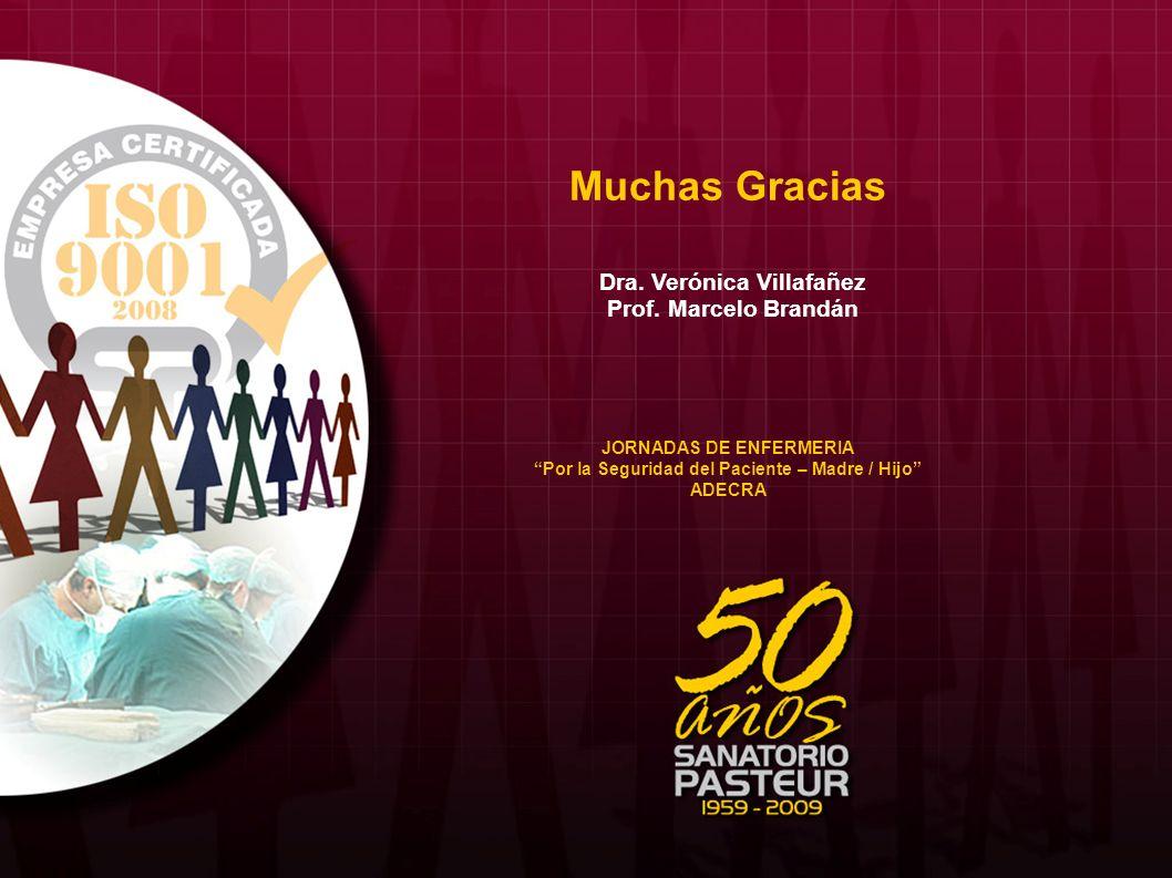 Muchas Gracias Dra. Verónica Villafañez Prof. Marcelo Brandán JORNADAS DE ENFERMERIA Por la Seguridad del Paciente – Madre / Hijo ADECRA