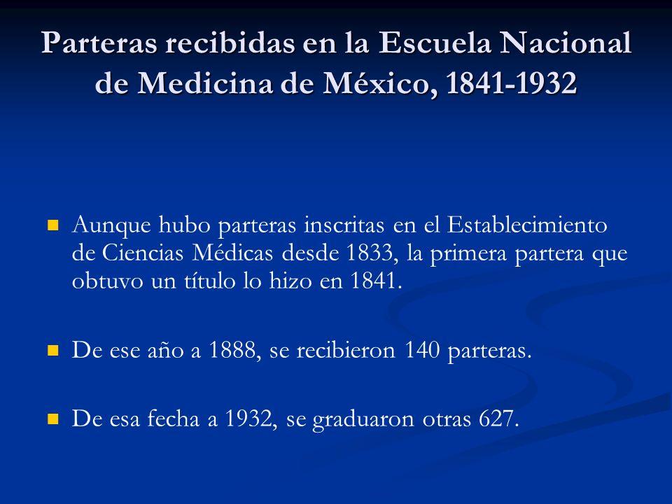 Parteras recibidas en la Escuela Nacional de Medicina de México, 1841-1932 Aunque hubo parteras inscritas en el Establecimiento de Ciencias Médicas desde 1833, la primera partera que obtuvo un título lo hizo en 1841.