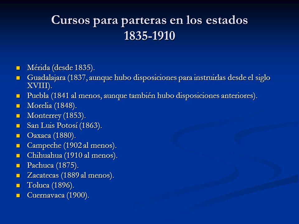 Cursos para parteras en los estados 1835-1910 Mérida (desde 1835). Mérida (desde 1835). Guadalajara (1837, aunque hubo disposiciones para instruirlas