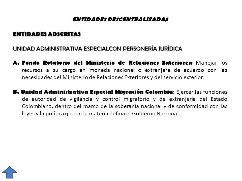 ENTIDADES DESCENTRALIZADAS ENTIDADES ADSCRITAS UNIDAD ADMINISTRATIVA ESPECIALCON PERSONERÍA JURÍDICA A. Fondo Rotatorio del Ministerio de Relaciones E