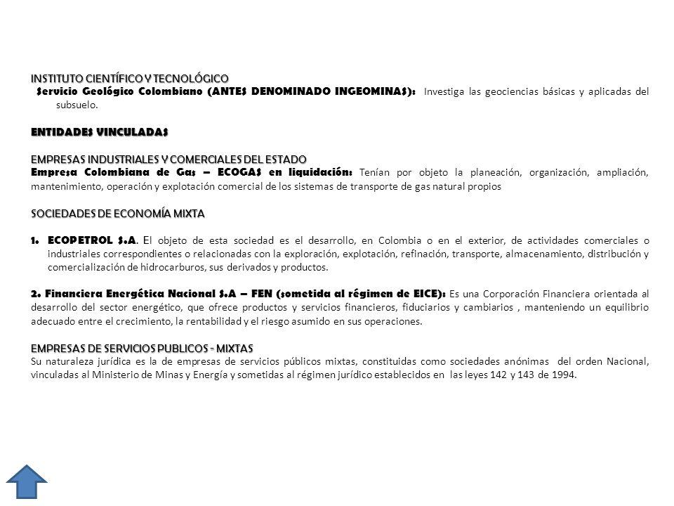INSTITUTO CIENTÍFICO Y TECNOLÓGICO Servicio Geológico Colombiano (ANTES DENOMINADO INGEOMINAS): Investiga las geociencias básicas y aplicadas del subs