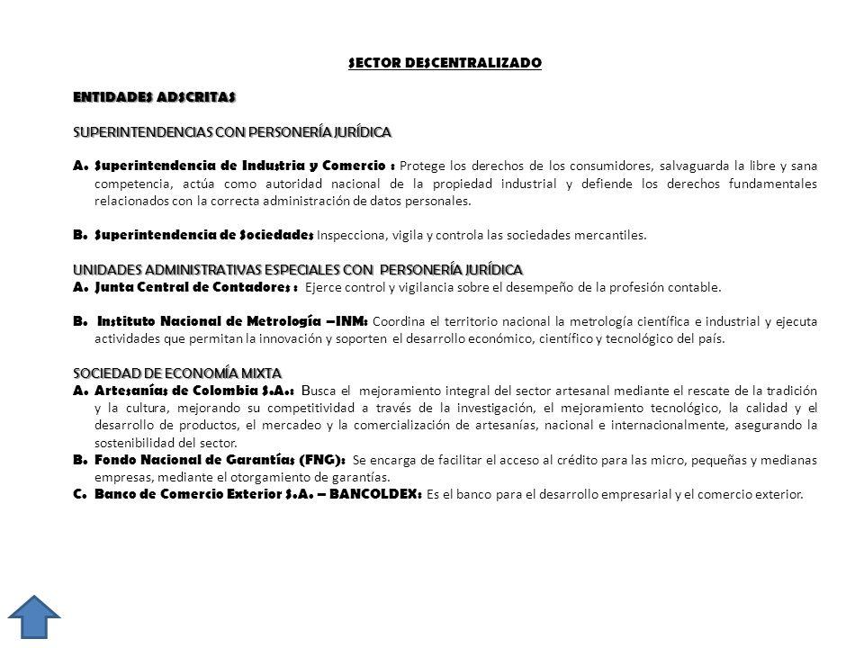 SECTOR DESCENTRALIZADO ENTIDADES ADSCRITAS SUPERINTENDENCIAS CON PERSONERÍA JURÍDICA A. Superintendencia de Industria y Comercio : Protege los derecho