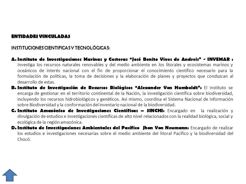 ENTIDADES VINCULADAS INSTITUCIONES CIENTIFICAS Y TECNOLÓGICAS: A. Instituto de Investigaciones Marinas y Costeras José Benito Vives de Andreis - INVEM