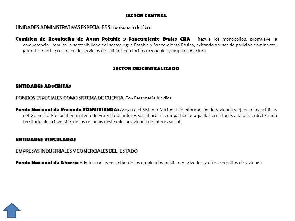 SECTOR CENTRAL UNIDADES ADMINISTRATIVAS ESPECIALES UNIDADES ADMINISTRATIVAS ESPECIALES Sin personería Jurídica Comisión de Regulación de Agua Potable
