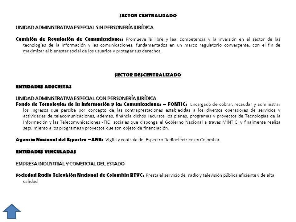SECTOR CENTRALIZADO UNIDAD ADMINISTRATIVA ESPECIAL SIN PERSONERÍA JURÍDICA Comisión de Regulación de Comunicaciones: Promueve la libre y leal competen