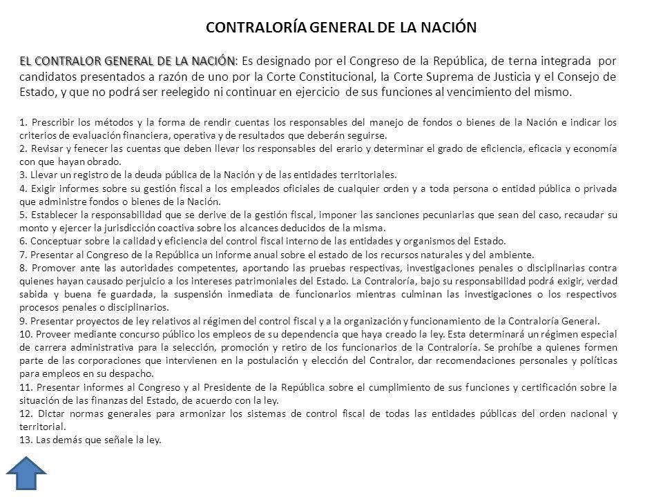 CONTRALORÍA GENERAL DE LA NACIÓN EL CONTRALOR GENERAL DE LA NACIÓN EL CONTRALOR GENERAL DE LA NACIÓN: Es designado por el Congreso de la República, de