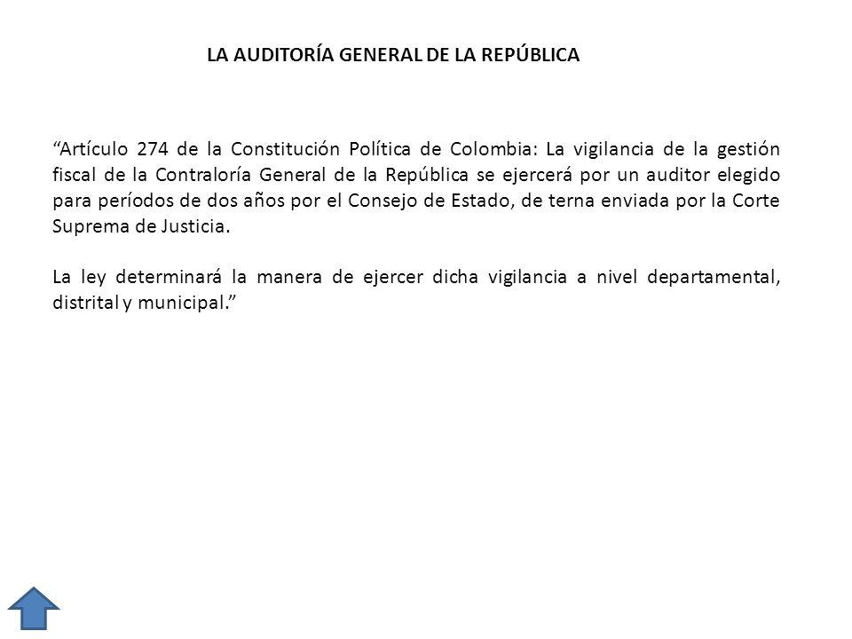 LA AUDITORÍA GENERAL DE LA REPÚBLICA Artículo 274 de la Constitución Política de Colombia: La vigilancia de la gestión fiscal de la Contraloría Genera