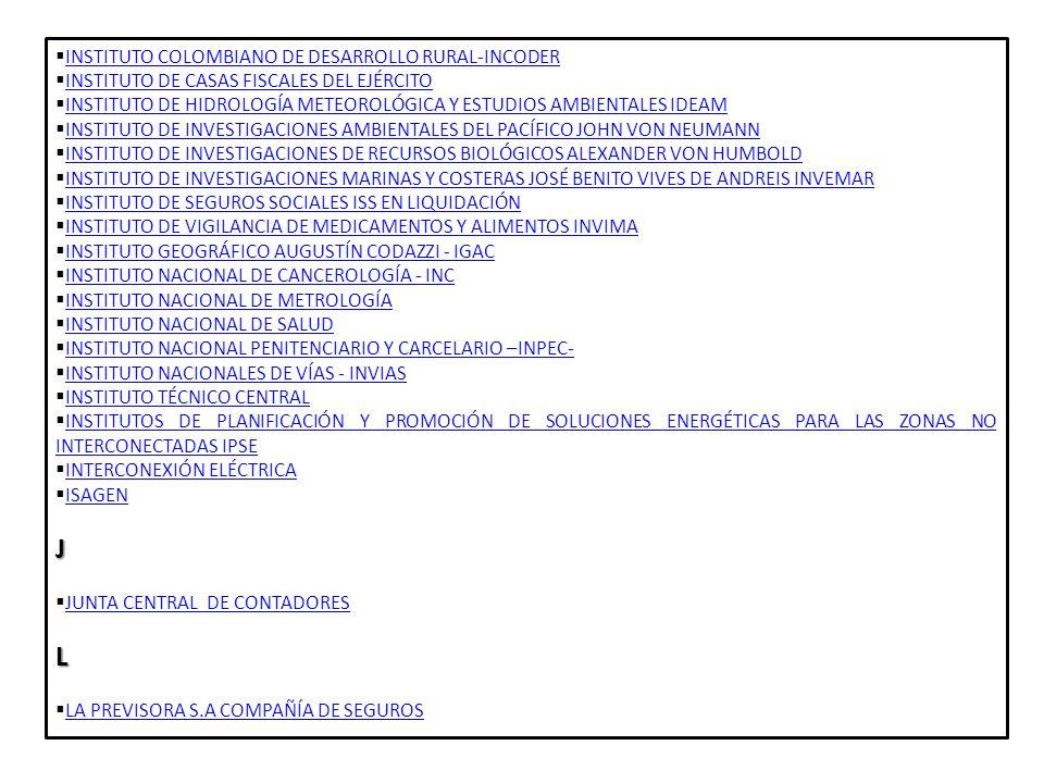 O ORGANIZAZIONES SOLIDARIAS P PARQUES NACIONALES NATURALES DE COLOMBIA POSITIVA COMPAÑÍA DE SEGUROS S.A R RADIO TELEVISIÓN NACIONAL DEL ESPECTRO -ANE S SANATORIO DE AGUA DE DIOS SANATORIO DE AGUA DE DIOS SANATORIO DE CONTRATACIÓN SANATORIO DE CONTRATACIÓN SERVICIO AÉREO A TERRITORIOS NACIONALES, SATENA SERVICIO AÉREO A TERRITORIOS NACIONALES, SATENA SERVICIO GEOLÓGICO COLOMBIANO SERVICIO GEOLÓGICO COLOMBIANO SERVICIO NACIONAL DE APRENDIZAJE –SENA- SERVICIO NACIONAL DE APRENDIZAJE –SENA- SERVICIOS POSTALES NACIONALES S.A SERVICIOS POSTALES NACIONALES S.A SOCIEDAD HOTELERA TEQUENDAMA CROW NE PLAZA SOCIEDAD HOTELERA TEQUENDAMA CROW NE PLAZA SOCIEDADES DE ACTIVOS ESPECIALES S.A.S - SAE SOCIEDADES DE ACTIVOS ESPECIALES S.A.S - SAE