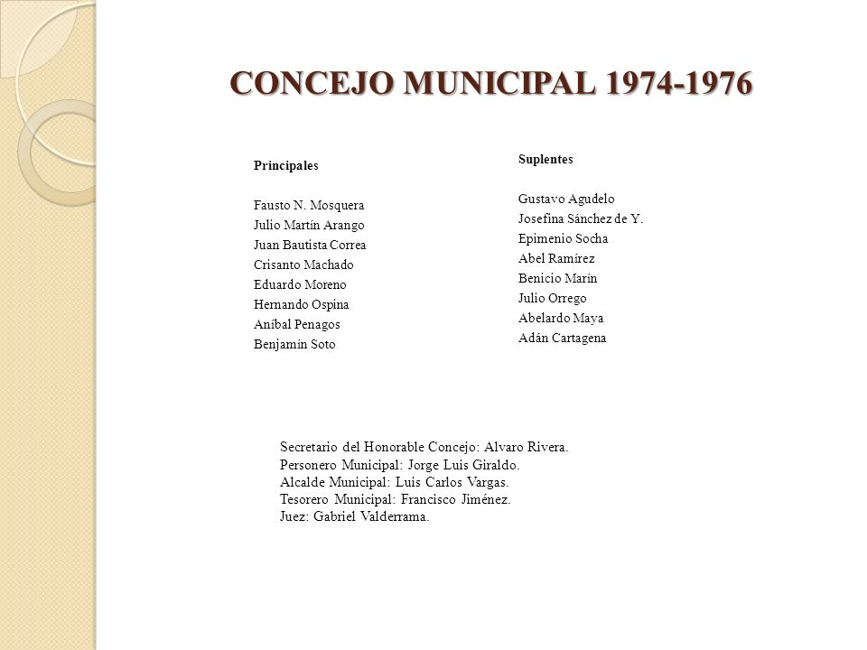 CONCEJO MUNICIPAL 1974-1976 Principales Fausto N. Mosquera Julio Martín Arango Juan Bautista Correa Crisanto Machado Eduardo Moreno Hernando Ospina An