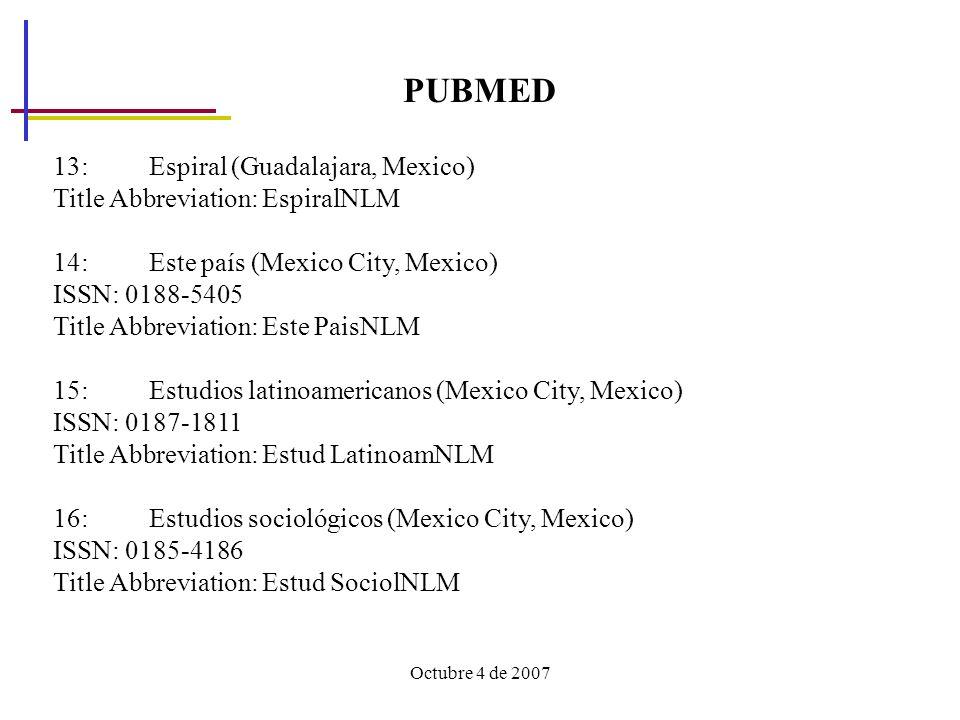 Octubre 4 de 2007 PUBMED 13: Espiral (Guadalajara, Mexico) Title Abbreviation: EspiralNLM 14: Este país (Mexico City, Mexico) ISSN: 0188-5405 Title Abbreviation: Este PaisNLM 15: Estudios latinoamericanos (Mexico City, Mexico) ISSN: 0187-1811 Title Abbreviation: Estud LatinoamNLM 16: Estudios sociológicos (Mexico City, Mexico) ISSN: 0185-4186 Title Abbreviation: Estud SociolNLM