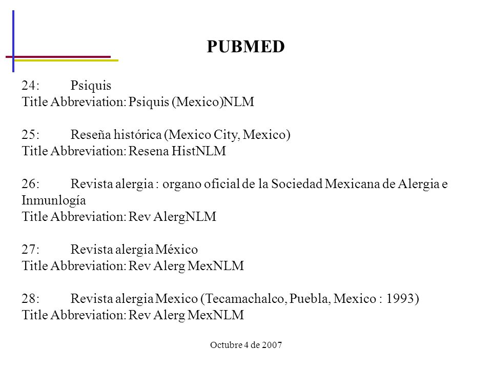 Octubre 4 de 2007 PUBMED 24: Psiquis Title Abbreviation: Psiquis (Mexico)NLM 25: Reseña histórica (Mexico City, Mexico) Title Abbreviation: Resena His