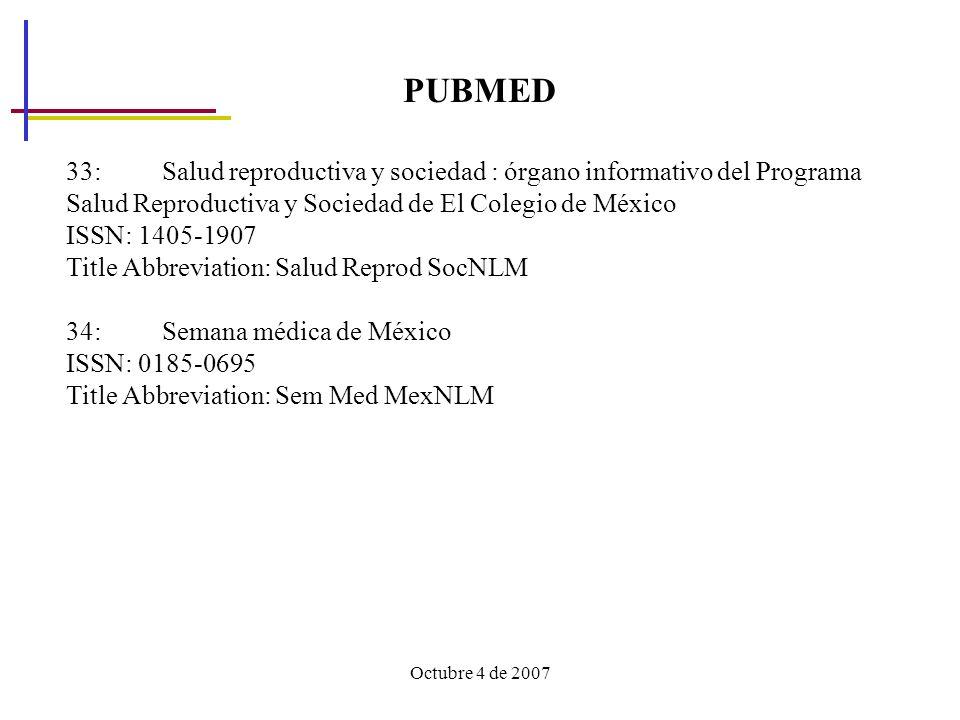 Octubre 4 de 2007 PUBMED 33: Salud reproductiva y sociedad : órgano informativo del Programa Salud Reproductiva y Sociedad de El Colegio de México ISSN: 1405-1907 Title Abbreviation: Salud Reprod SocNLM 34: Semana médica de México ISSN: 0185-0695 Title Abbreviation: Sem Med MexNLM