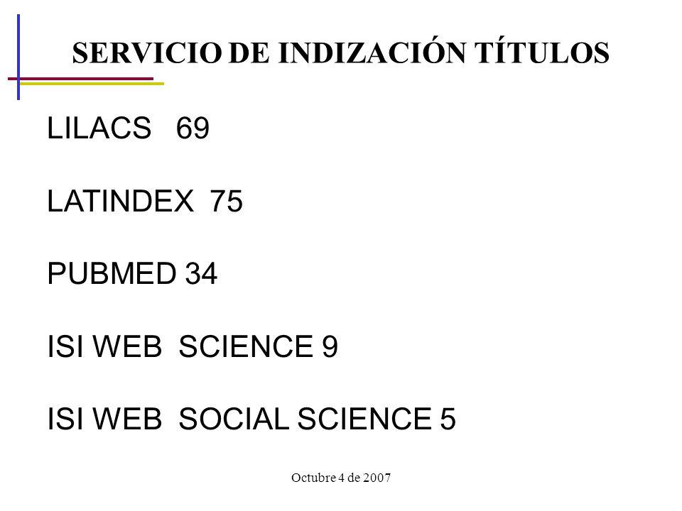 Octubre 4 de 2007 SERVICIO DE INDIZACIÓN TÍTULOS LILACS 69 LATINDEX 75 PUBMED 34 ISI WEB SCIENCE 9 ISI WEB SOCIAL SCIENCE 5