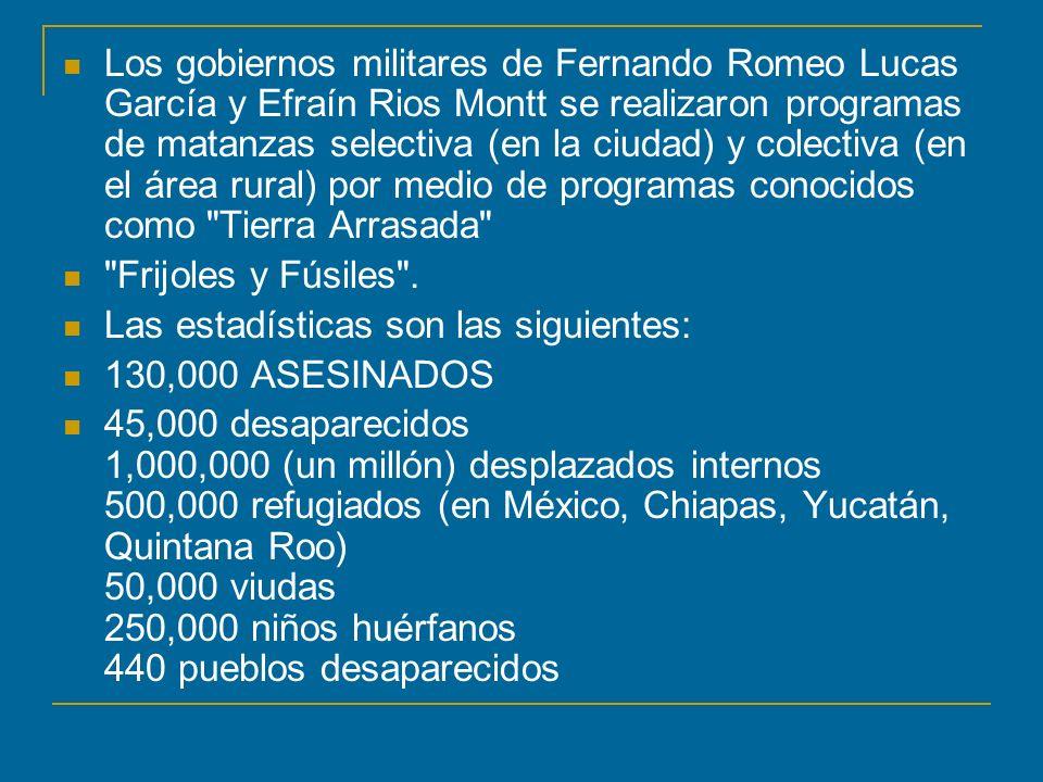 Los gobiernos militares de Fernando Romeo Lucas García y Efraín Rios Montt se realizaron programas de matanzas selectiva (en la ciudad) y colectiva (e