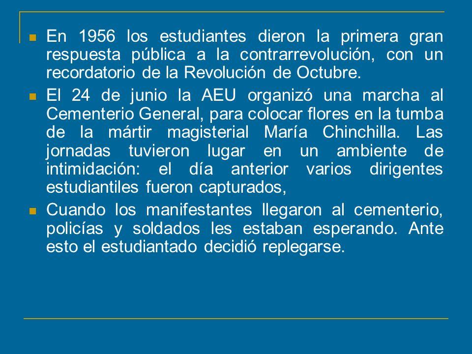 En 1956 los estudiantes dieron la primera gran respuesta pública a la contrarrevolución, con un recordatorio de la Revolución de Octubre. El 24 de jun
