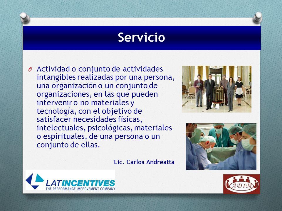 O Actividad o conjunto de actividades intangibles realizadas por una persona, una organización o un conjunto de organizaciones, en las que pueden inte