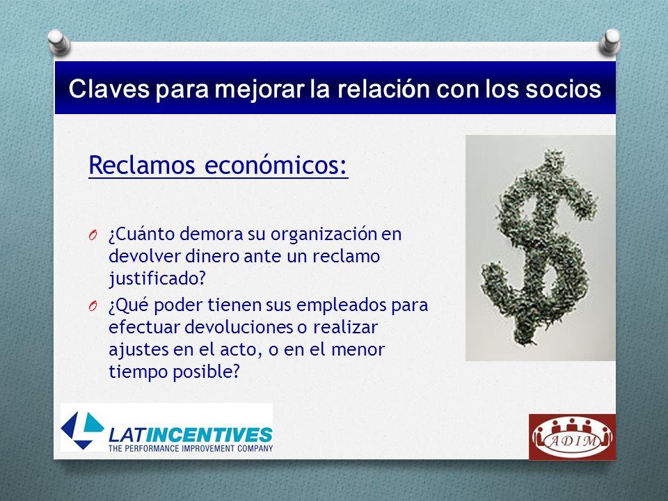 Reclamos económicos: O ¿Cuánto demora su organización en devolver dinero ante un reclamo justificado? O ¿Qué poder tienen sus empleados para efectuar