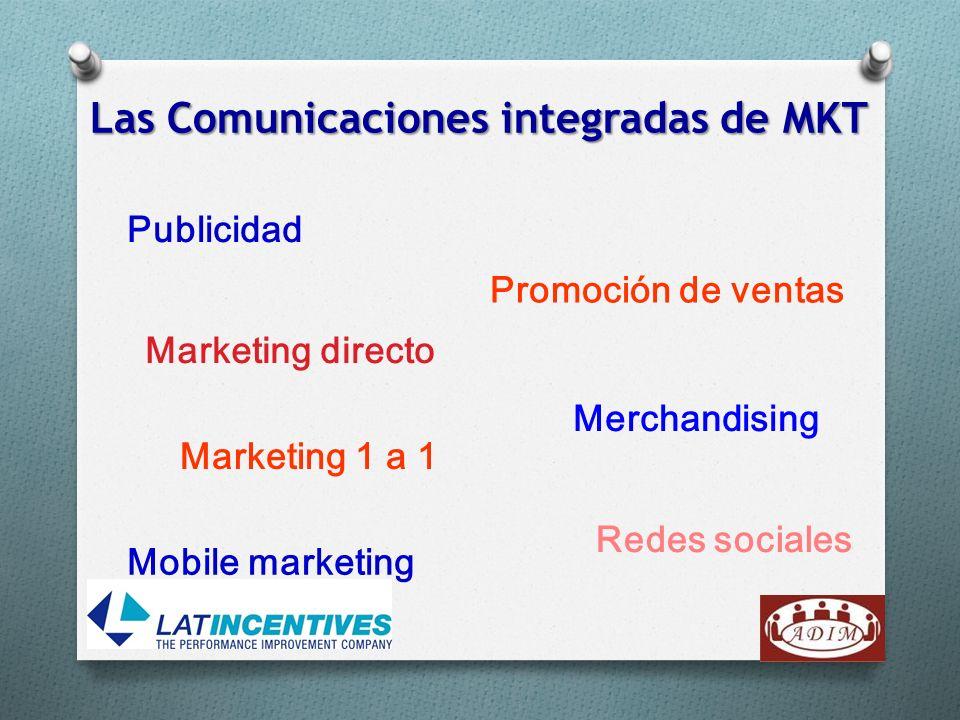 Las Comunicaciones integradas de MKT Publicidad Merchandising Promoción de ventas Marketing directo Redes sociales Marketing 1 a 1 Mobile marketing