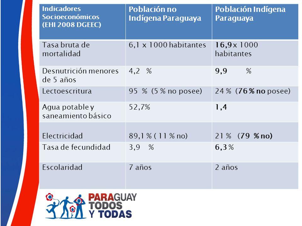 Indicadores Socioeconómicos (EHI 2008 DGEEC) Población no Indígena Paraguaya Población Indígena Paraguaya Tasa bruta de mortalidad 6,1 x 1000 habitant