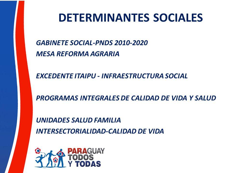 DETERMINANTES SOCIALES GABINETE SOCIAL-PNDS 2010-2020 MESA REFORMA AGRARIA EXCEDENTE ITAIPU - INFRAESTRUCTURA SOCIAL PROGRAMAS INTEGRALES DE CALIDAD D
