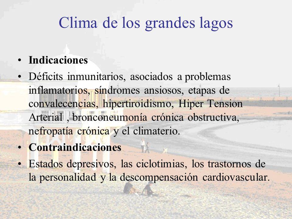Clima de los grandes lagos Indicaciones Déficits inmunitarios, asociados a problemas inflamatorios, síndromes ansiosos, etapas de convalecencias, hipe