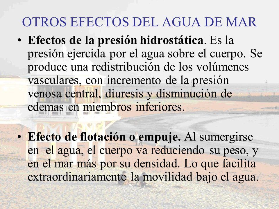 OTROS EFECTOS DEL AGUA DE MAR Efectos de la presión hidrostática. Es la presión ejercida por el agua sobre el cuerpo. Se produce una redistribución de