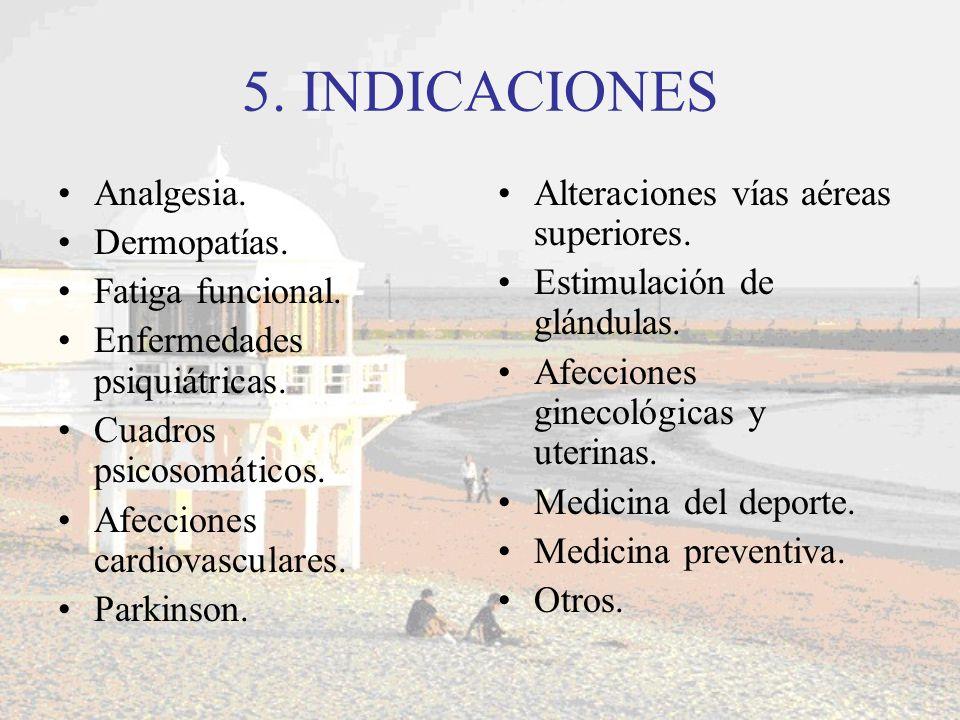 5. INDICACIONES Analgesia. Dermopatías. Fatiga funcional. Enfermedades psiquiátricas. Cuadros psicosomáticos. Afecciones cardiovasculares. Parkinson.
