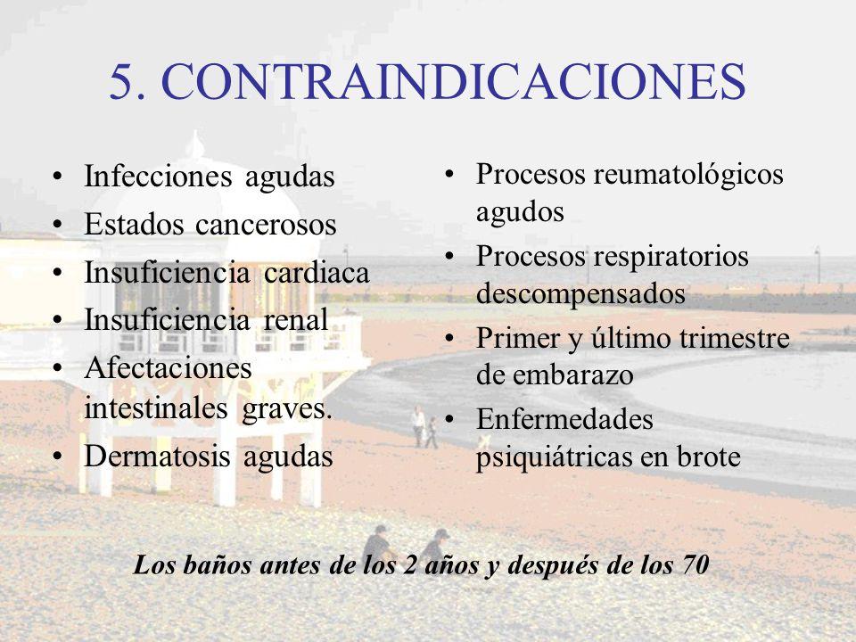 5. CONTRAINDICACIONES Infecciones agudas Estados cancerosos Insuficiencia cardiaca Insuficiencia renal Afectaciones intestinales graves. Dermatosis ag
