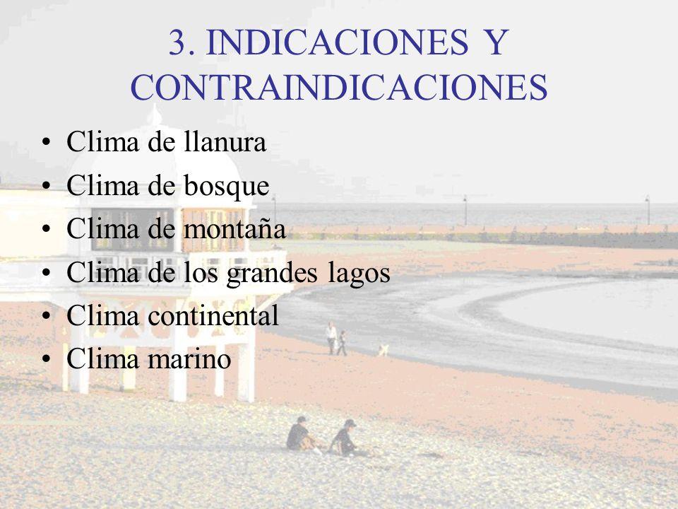 3. INDICACIONES Y CONTRAINDICACIONES Clima de llanura Clima de bosque Clima de montaña Clima de los grandes lagos Clima continental Clima marino