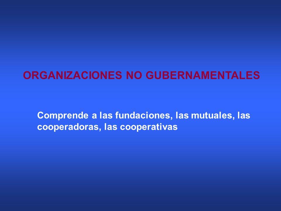 ORGANIZACIONES NO GUBERNAMENTALES Comprende a las fundaciones, las mutuales, las cooperadoras, las cooperativas