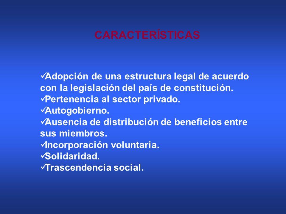 CARACTERÍSTICAS Adopción de una estructura legal de acuerdo con la legislación del país de constitución. Pertenencia al sector privado. Autogobierno.