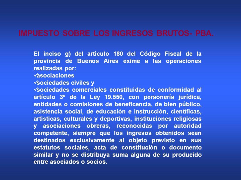 IMPUESTO SOBRE LOS INGRESOS BRUTOS- PBA. El inciso g) del artículo 180 del Código Fiscal de la provincia de Buenos Aires exime a las operaciones reali