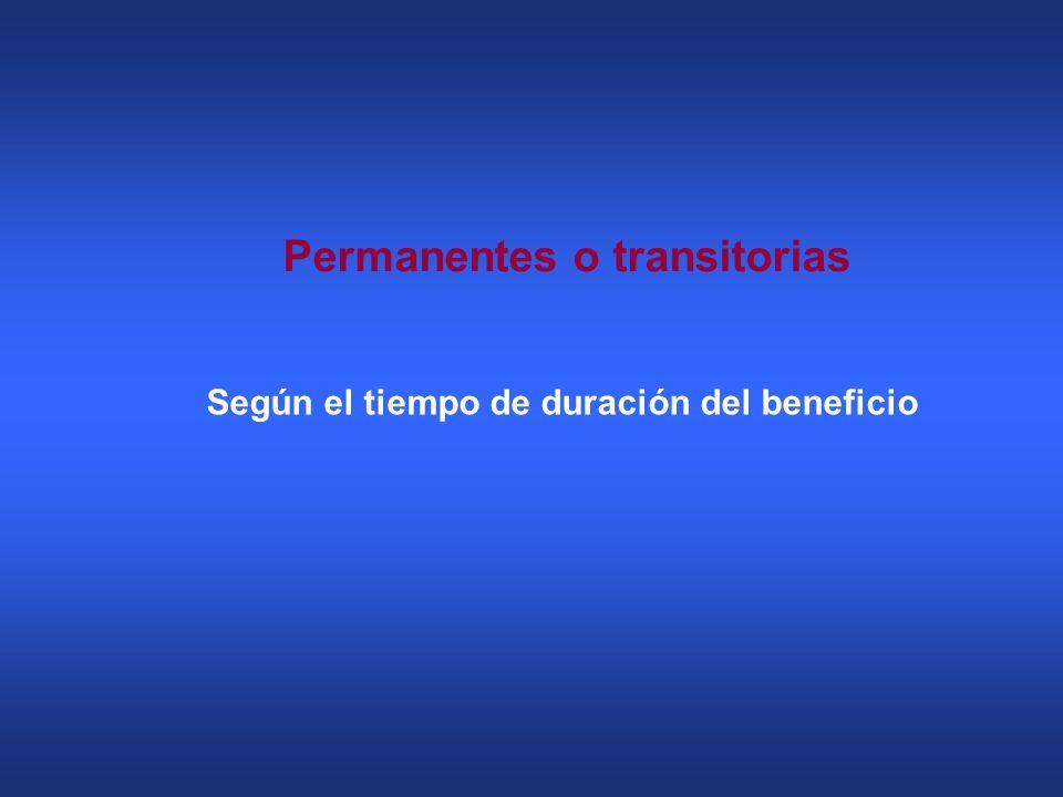 Según el tiempo de duración del beneficio Permanentes o transitorias