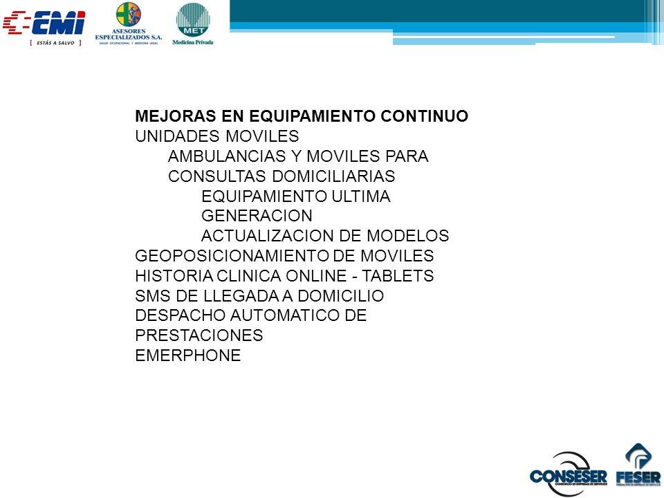 MEJORAS EN EQUIPAMIENTO CONTINUO UNIDADES MOVILES AMBULANCIAS Y MOVILES PARA CONSULTAS DOMICILIARIAS EQUIPAMIENTO ULTIMA GENERACION ACTUALIZACION DE M