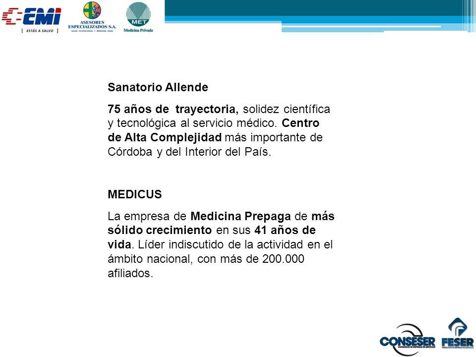 Sanatorio Allende 75 años de trayectoria, solidez científica y tecnológica al servicio médico. Centro de Alta Complejidad más importante de Córdoba y