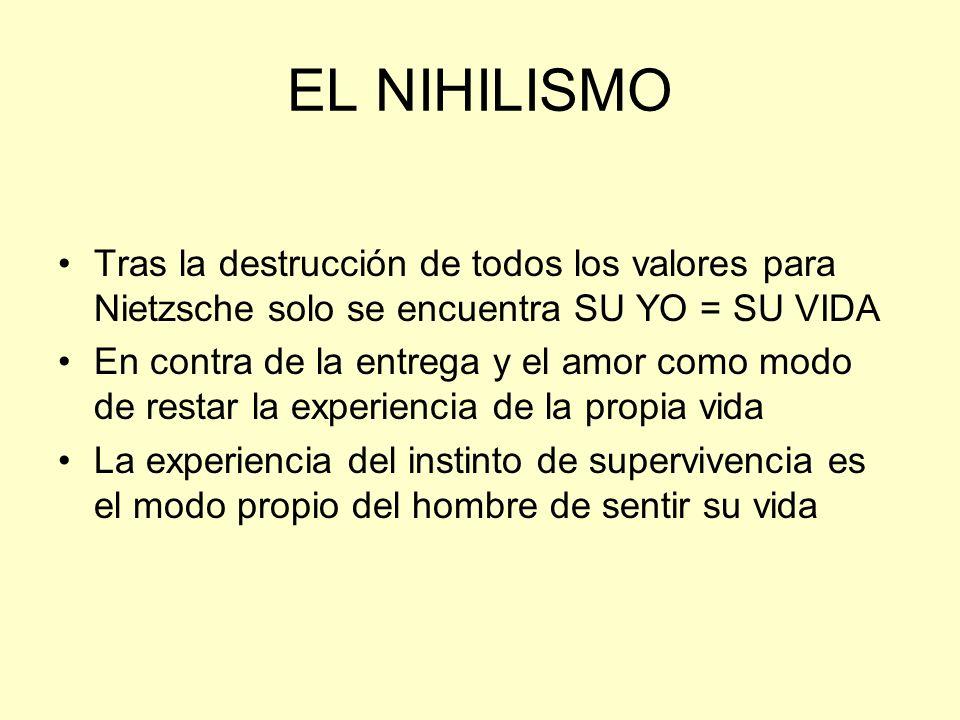EL NIHILISMO Tras la destrucción de todos los valores para Nietzsche solo se encuentra SU YO = SU VIDA En contra de la entrega y el amor como modo de