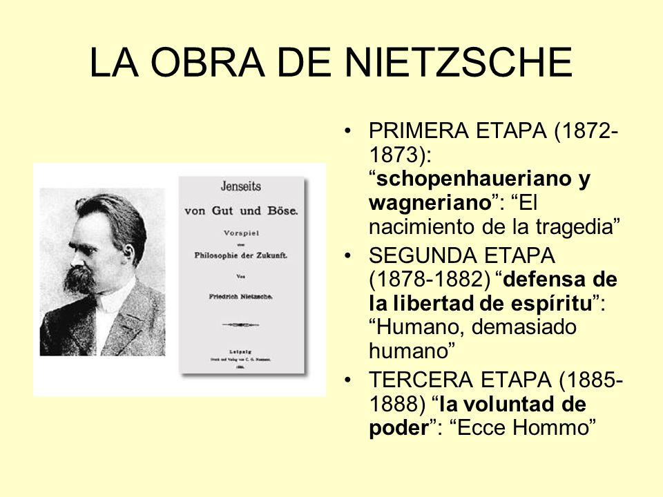 LA OBRA DE NIETZSCHE PRIMERA ETAPA (1872- 1873):schopenhaueriano y wagneriano: El nacimiento de la tragedia SEGUNDA ETAPA (1878-1882) defensa de la li