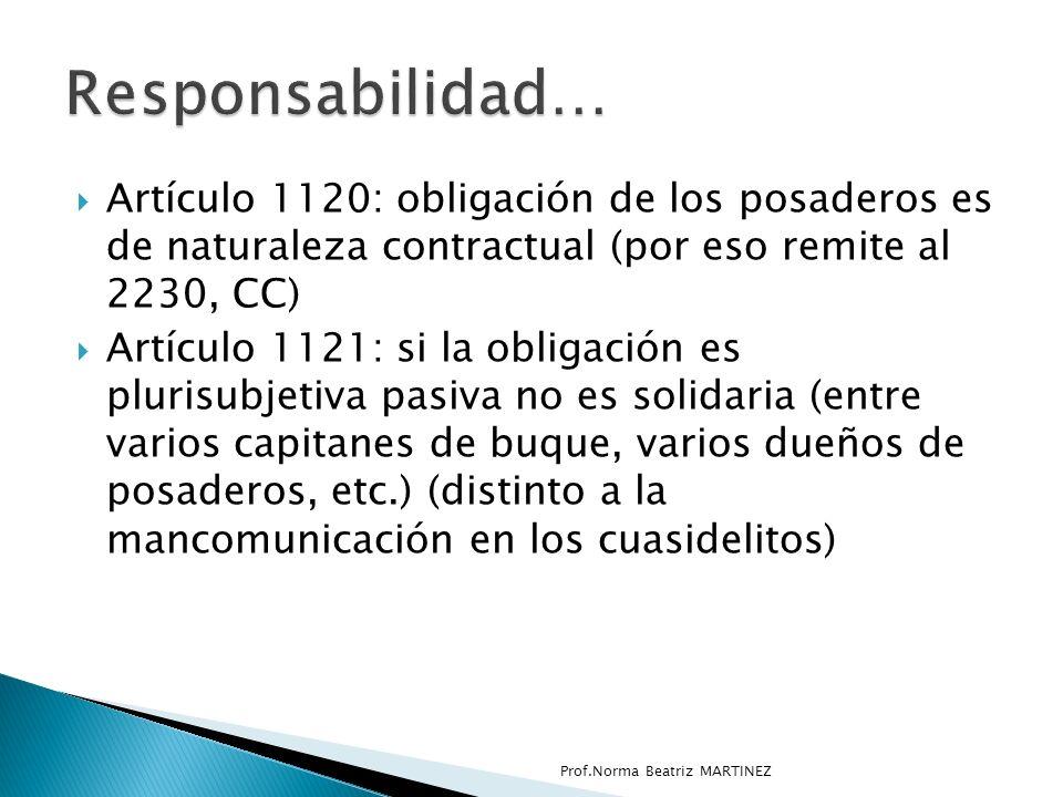 Artículo 1120: obligación de los posaderos es de naturaleza contractual (por eso remite al 2230, CC) Artículo 1121: si la obligación es plurisubjetiva pasiva no es solidaria (entre varios capitanes de buque, varios dueños de posaderos, etc.) (distinto a la mancomunicación en los cuasidelitos) Prof.Norma Beatriz MARTINEZ