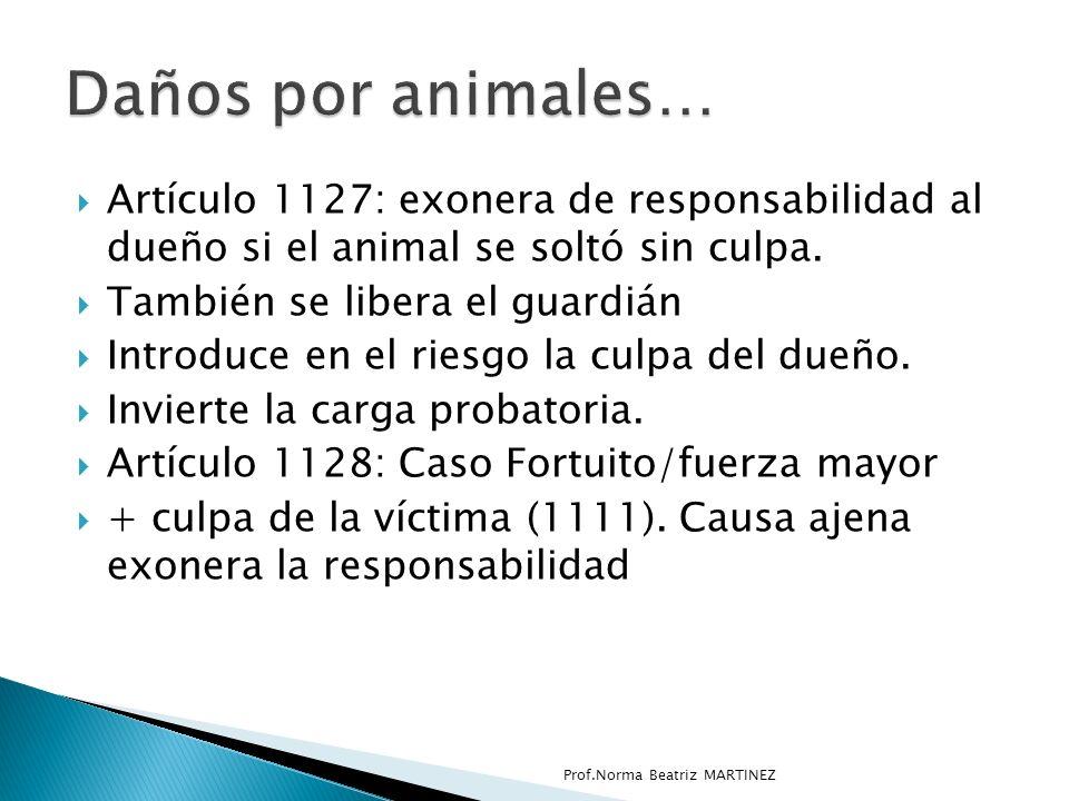 Artículo 1127: exonera de responsabilidad al dueño si el animal se soltó sin culpa.